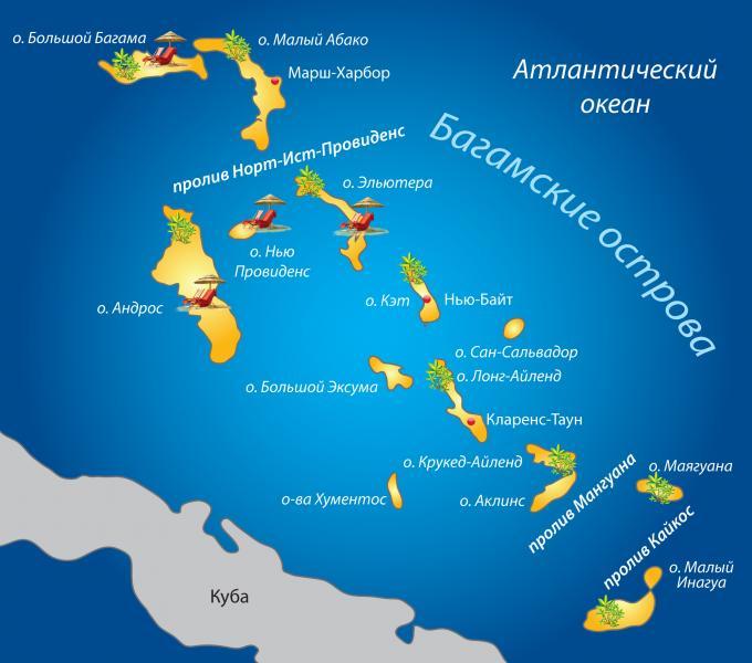 В состав багамских островов входят сотни маленьких и тридцать